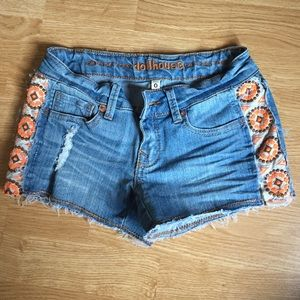 jeans shorts with orange side detailing