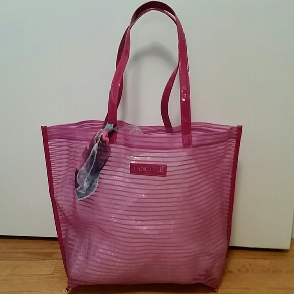 fcdf18d48ba38 Lancome Handbags - Lancome mesh beach bag or tote with purse scarf