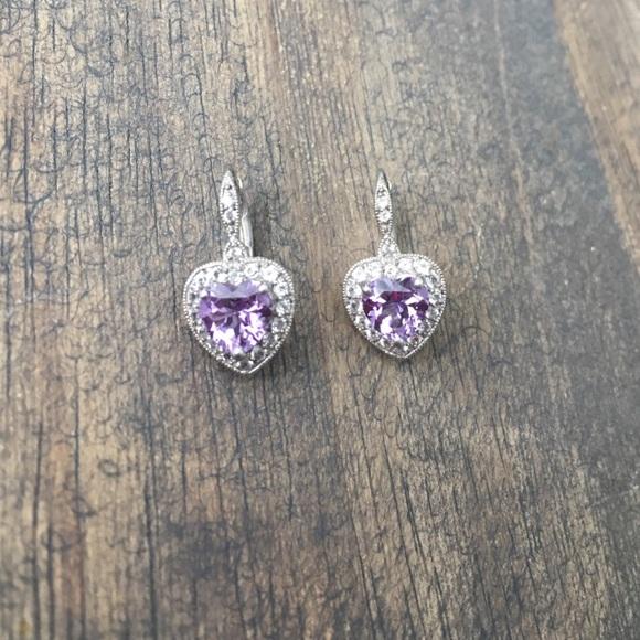 408e7f59a544a Ben Moss Amethyst & White Sapphire Heart Earrings