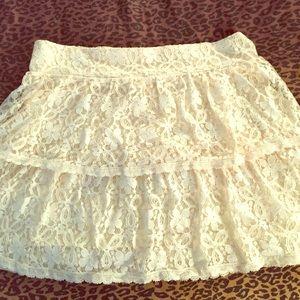 Delia's Cream Lace Tiered Skirt