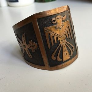 Jewelry - Antique Egyptian Hieroglyph Cuff, Black & Copper