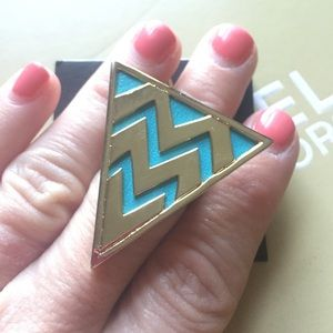 New House of Harlow 1960 gold triangle blue ring