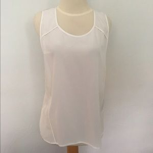 Alexander Wang White Silk Semi- Sheer Tank