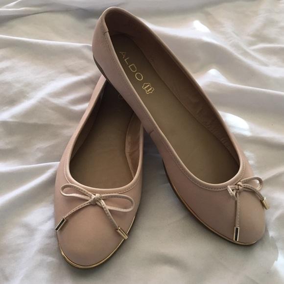 e2f46f858b9 ALDO LORALEE nude ballet flats 10 gold trim