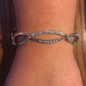 Monet Silver Oval Open Link Bracelet with Crystals
