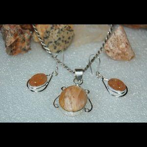 handmade & handcrafted gemstone jewelry Jewelry - Chalcedony Set of Pendant & Earrings