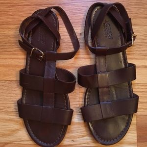 J. Crew Olympia Leather Dark Brown Sandals