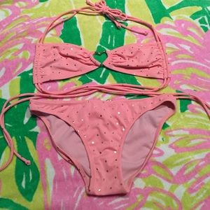 NWOT- Victoria's Secret Gold Polka dot Bikini, XS