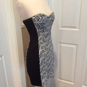 Black and white sequin body con dress by eightysix
