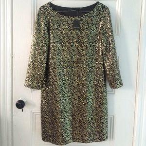 Tahari Tunic Dress Gold Sequin