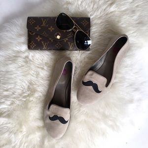 Shoes - Taupe Suede Mustache Loafer Flats