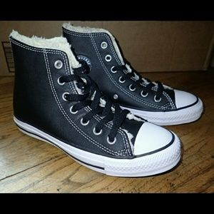 Converse Black Leather Shoes Women's 6 - New
