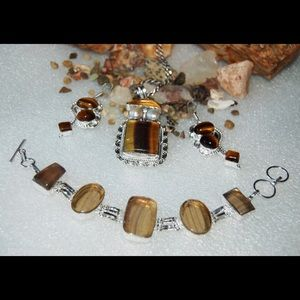 Tiger Eye & Faceted Fluorite Statement Set