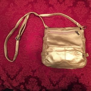 Gold faux leather cross body bag