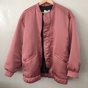 Mango pink oversized satin bomber jacket