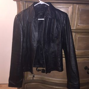100% authentic black leather biker jacket