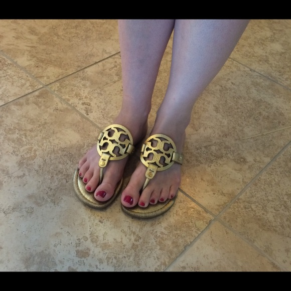 c741b4d067427 Tory Burch Miller Pebbled Gold Leather Sandals. M 57392a95c28456ff53014e17