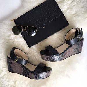 Shoes - Leather Ankle Strap Reptile Platforms