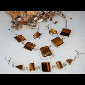 MAKE ME AN OFFER! Tiger Eye Handmade Statement Set