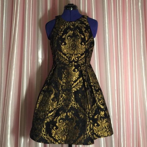 Gianni Bini Dresses Black And Gold Fit And Flare Dress Poshmark