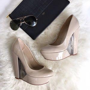 ALDO Shoes - Aldo Nude Lucite Platform Wedges - Desree