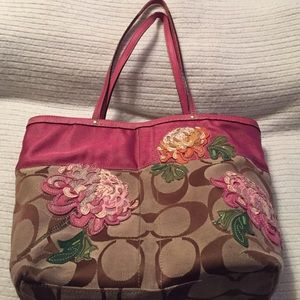 Authentic Coach Beige/Brown Bag w/Colorful Flowers