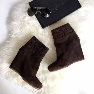 Chocolate Brown Suede Ankle Booties