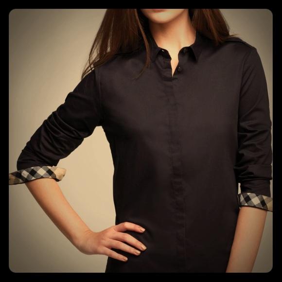 Black Burberry Button Up Shirt