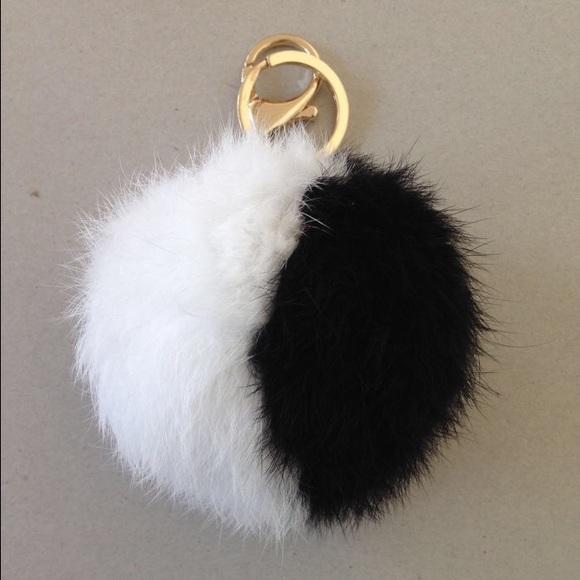 Black   white fur ball Pom Pom keychain 4cf51aef2