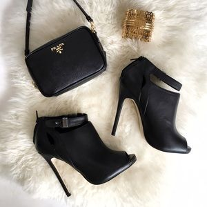 Shoemint Shoes - Black Stiletto Peep Toe Ankle Strap Booties