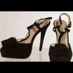 Colin Stuart Shoes - Colin Stuart Black Pom Pom High Heel Stilettos 8.5