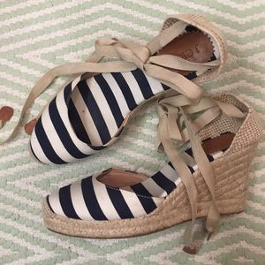 J.Crew Navy Striped Lace Up Espadrilles (Size 9)