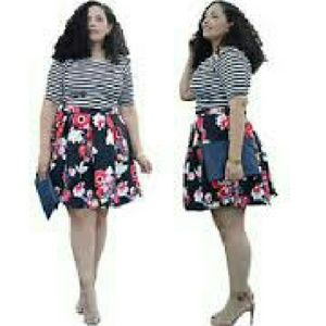Dresses & Skirts - Cute flower skirt with black and white shirt