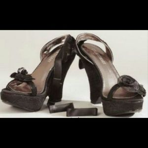 Colin Stuart Shoes - Colin Stuart Black Flower Ribbon Wedges 8.5