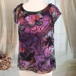 NY Collection Tops - NY Collection Floral Print Short Sleeved Blouse