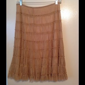 WD NY Dresses & Skirts - Sheer Tan Tiered  flare skirt size 12