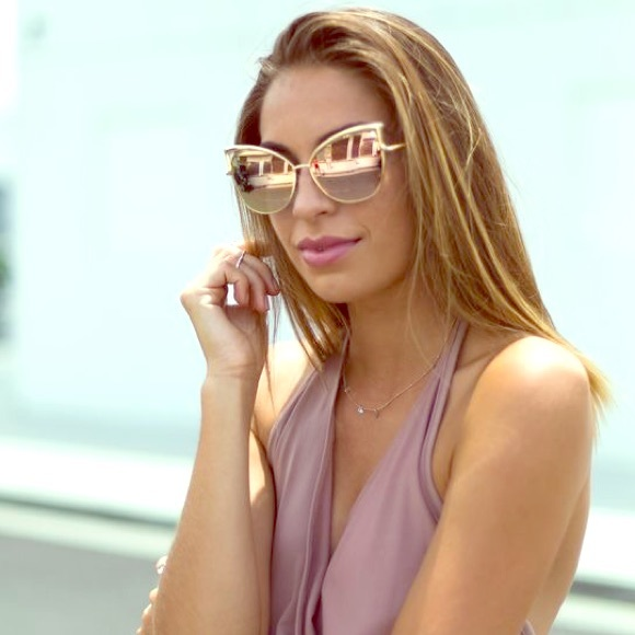 Accessories - Sexy Rose Gold Cateye Sunglasses