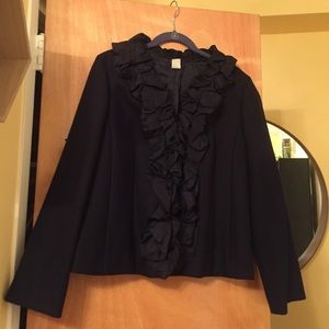 J. Crew Pleated Silk Chimera Jacket, Dark Navy