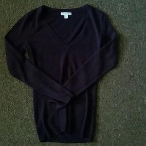 Dark purple V neck sweater