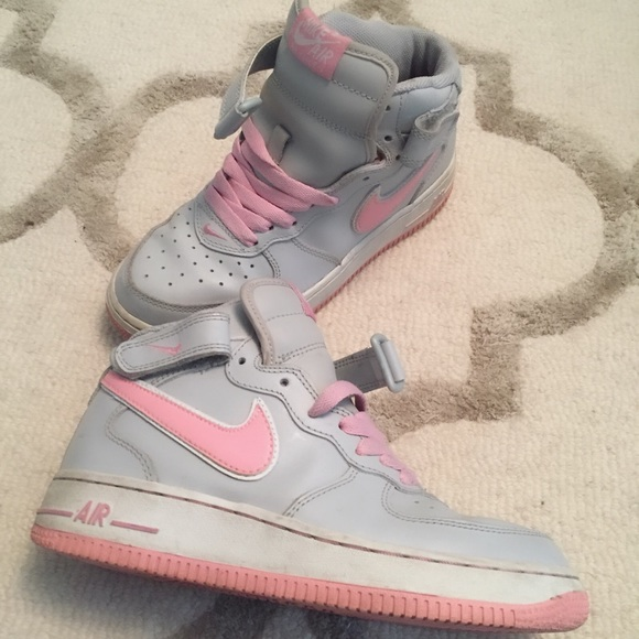 new product 4f84c 1e484 Nike Air Force One High Tops in Pink and Gray