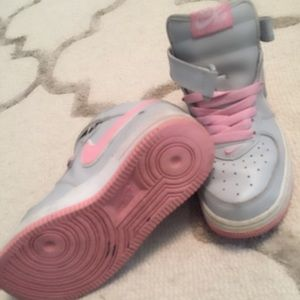 Nike Air Force One High Tops in Pink and Gray