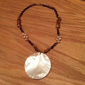 Jewelry - NEW pearl beaded necklace earthy stone reversible