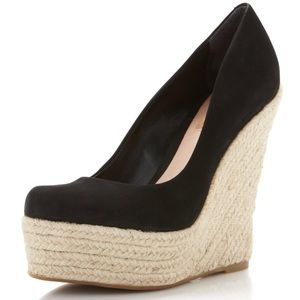 SHUTZ Anabela Nubuck Wedge in Black