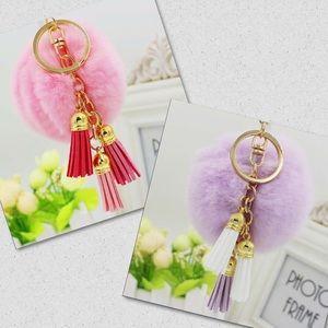 PomPom/FurBall Bag Charm/Keychain w/ Tassel Strap