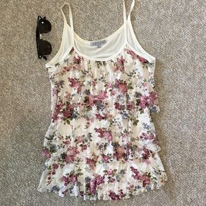Floral lace ruffle tank top- Charlotte Russe