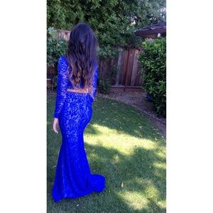 Beautiful royal blue two piece gown.