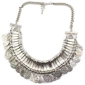 Jewelry - Boho chic silver coin necklace