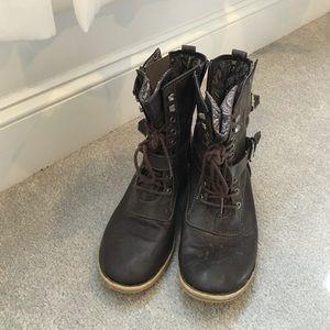 Dark brown army boots