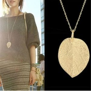 Long gold chain tree leaf pendant necklace jewelry