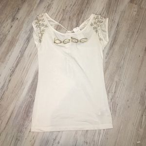 Never worn Bebe shirt with gold lettering